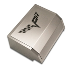 C6 Corvette Stainless Steel Fuse Box Cover w/C6 Flags Logo