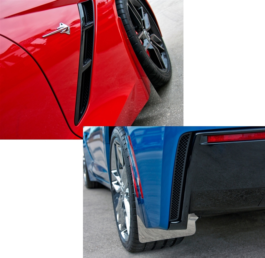 C7 Corvette Stainless/Carbon Fiber Wrap Splash Guards 4pc Kit