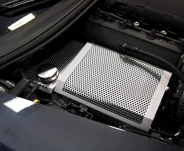 C7 Corvette Fuse Box Cover - Perforated Stainless Steel