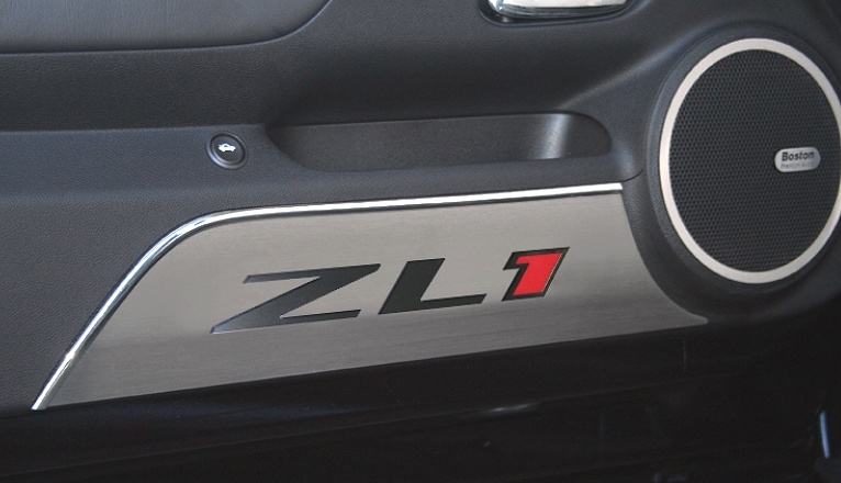 2012-2014 Camaro ZL1 Brushed Door Kick Plates w/Logo