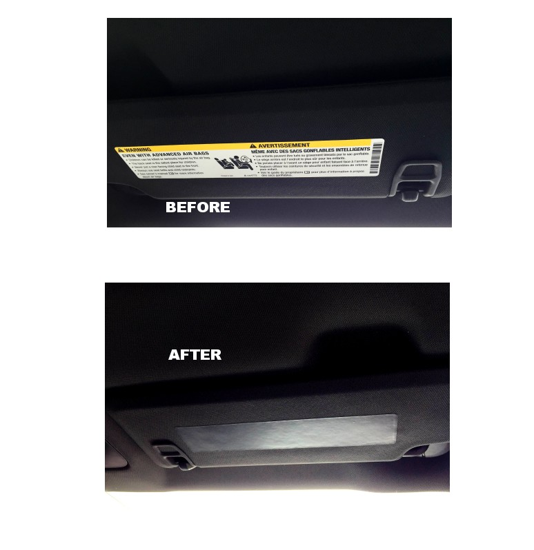 2016 Camaro Visor Decal Warning Label Covers