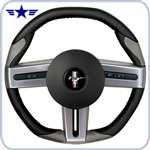 2005 - 2009 Mustang Black/Grey Leather Steering Wheel