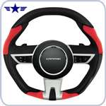 2010- 2015 Automatic Camaro Black/Red Leather Steering Wheel