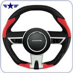2010-2015 Manual Camaro Black/Red Leather Steering Wheel