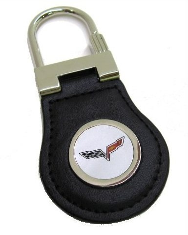 C6 Logo Leather Keychain