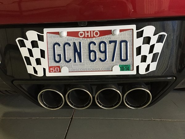 C7 Corvette Stingray Painted Checkered Flag Rear License Plate Frame