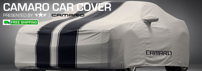 2010 2011 2012 2013 Camaro Car Cover, Gray w/ Black Stripes
