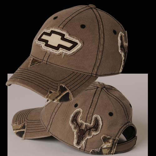 CHEVY CAMO FRAYED BUCK PATCH CAP