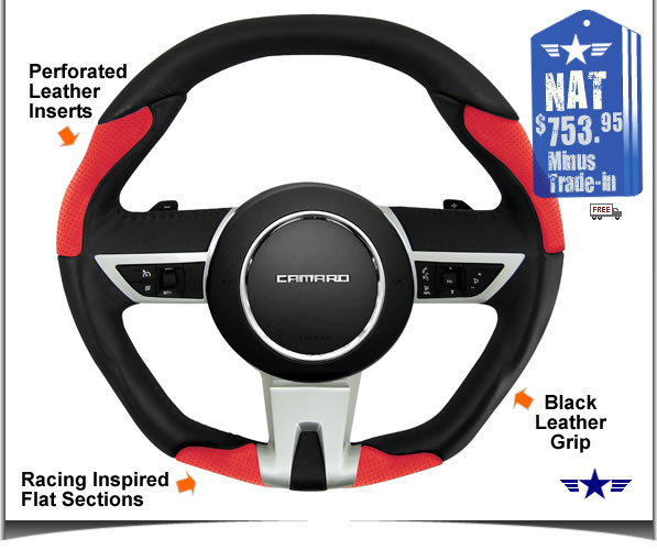 2010 2011 Manual Camaro Black and Red Leather Steering Wheel by Grant Products Part # 61203