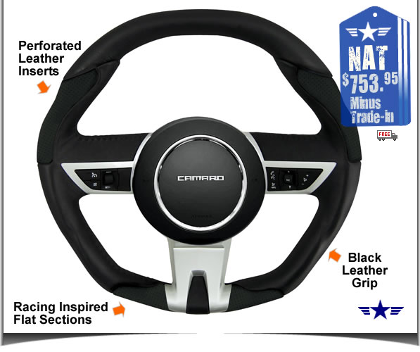 2010 2011 Camaro Black Leather Steering Wheel by Grant Products Part # 61210