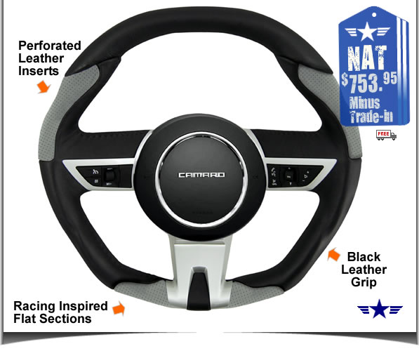 2010 2011 Manual Camaro Black and Grey Leather Steering Wheel by Grant Products Part # 61211