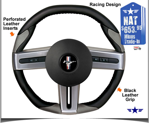 2005 2009 mustang blackgrey leather steering wheel 52101 2005 2009 mustang blackgrey leather steering wheel sciox Choice Image