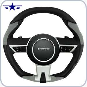 2010-2015 Automatic Camaro Black/grey Leather Steering Wheel
