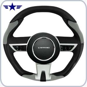 2010-2015 Manual Camaro Black/grey Leather Steering Wheel