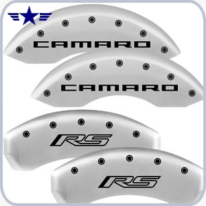 2010 2011 2012 2013 2014 2015 Camaro RS Satin Silver Caliper Covers, Camaro RS Logo