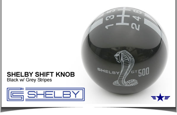 Shelby GT500 Shift Knob Black with Grey Stripes