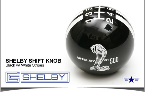 Shelby GT500 Shift Knob Black White Stripes