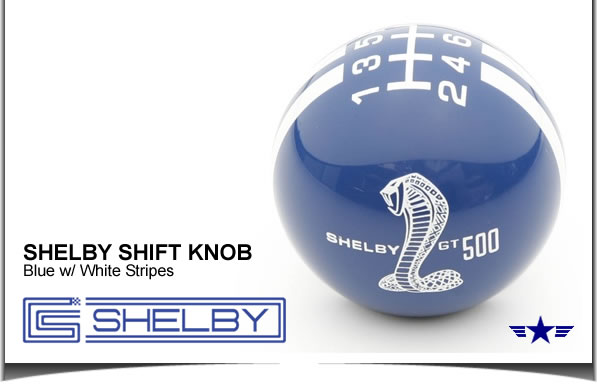 Shelby GT500 Shift Knob Blue with White Stripes