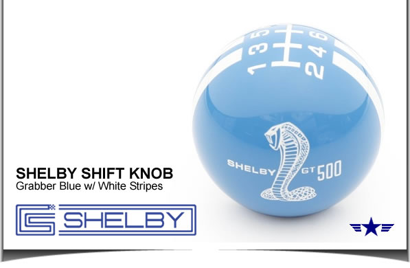Shelby GT500 Shift Knob Grabber Blue with White Stripes