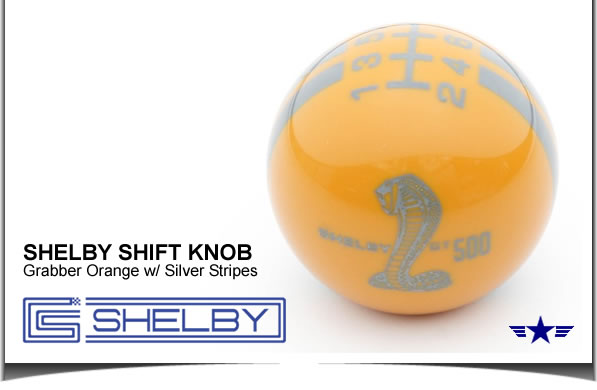 Shelby GT500 Shift Knob Grabber Orange with Silver Stripes