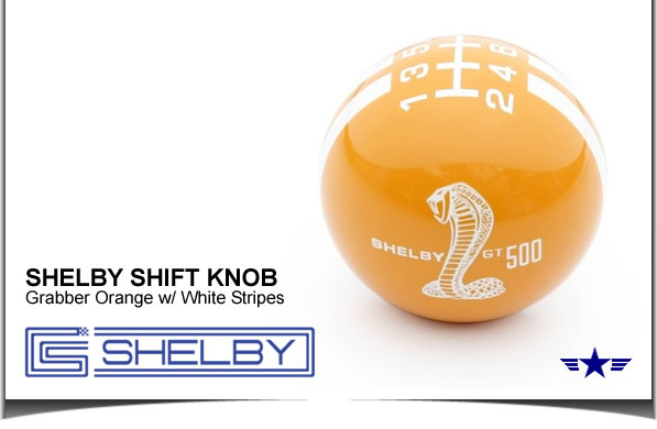 Shelby GT500 Shift Knob Grabber Orange with White Stripes
