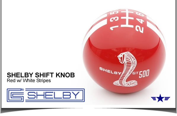 Shelby GT500 Shift Knob Red with White Stripes