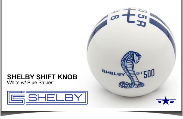 Shelby GT500 Shift Knob White with Blue Stripes