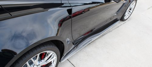 C7 Corvette Z06 - Side Skirt Extensions w/Polished Supercharged Inlaid Lettering